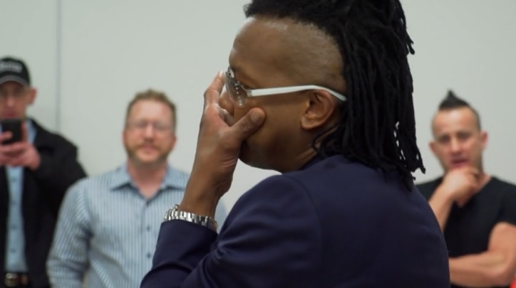 Newsboys lead singer Michael Tait moved to tears when homeless choir sings 'We Believe'