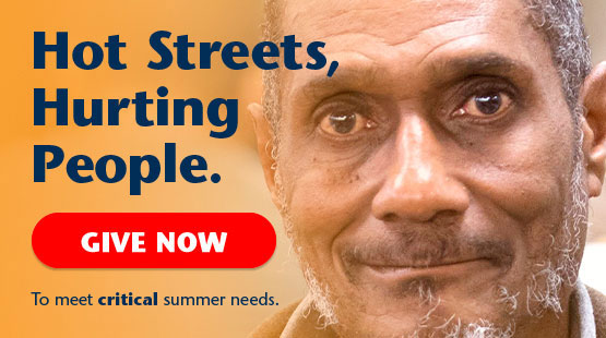 Hot streets, Hurting people. Give Now